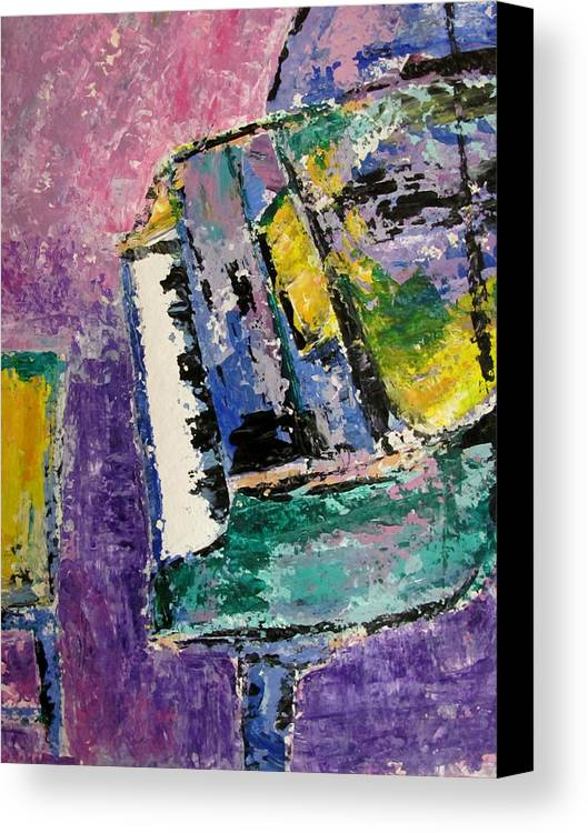 Music Canvas Print featuring the painting Green Piano Side View by Anita Burgermeister