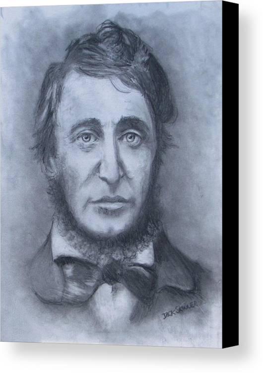 Henry David Thoreau Canvas Print featuring the drawing Henry David Thoreau by Jack Skinner