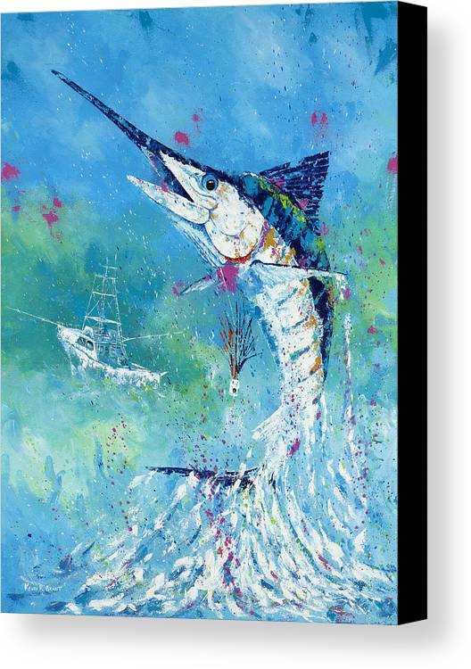 Blue Marlin Canvas Print featuring the painting Hook Up by Kevin Brant