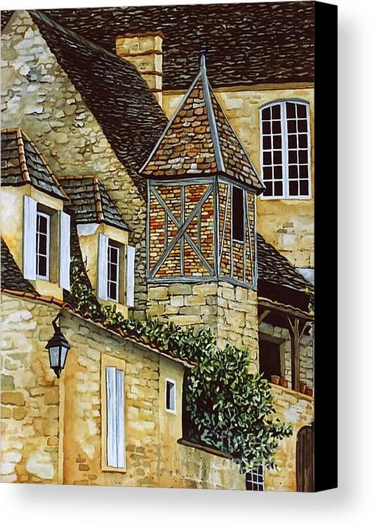 Sarlat Canvas Print featuring the painting Houses In Sarlat by Scott Nelson