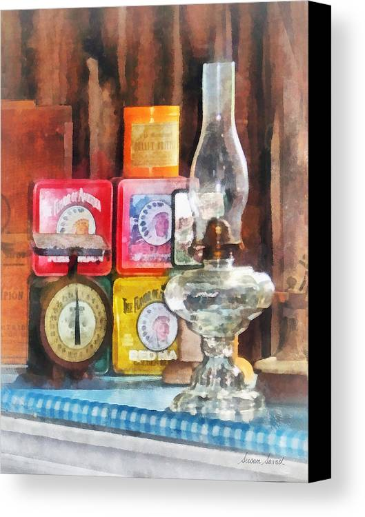 Lamp Canvas Print featuring the photograph Hurricane Lamp And Scale by Susan Savad
