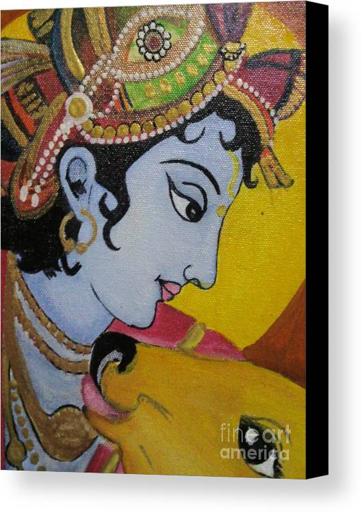 Krishna Mural Painting Canvas Print / Canvas Art by Rekha Artz