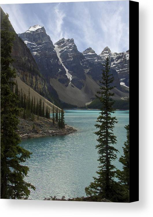 Alberta Canvas Print featuring the photograph Lake Moraine - Banff National Park by Daniel Hagerman