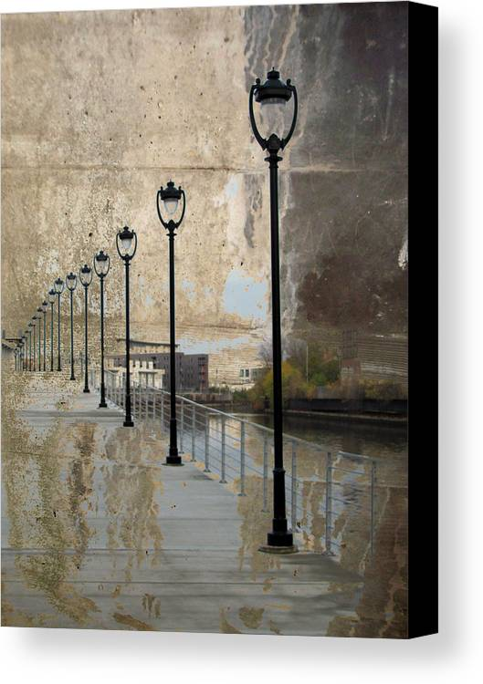 Lamp Posts Canvas Print featuring the digital art Lamp Posts And Concrete by Anita Burgermeister