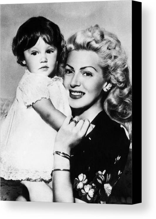 1940s Canvas Print featuring the photograph Lana Turner Right, And Daughter Cheryl by Everett