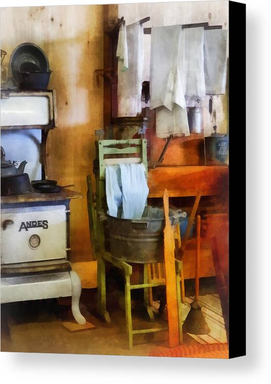 Farmhouse Canvas Print featuring the photograph Laundry Drying In Kitchen by Susan Savad