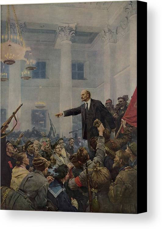 History Canvas Print featuring the photograph Lenin 1870-1924 Declaring Power by Everett