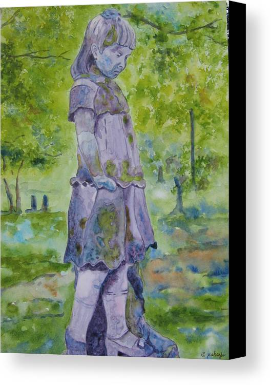Statue Portrait Canvas Print featuring the painting Little Nanny by Patsy Sharpe