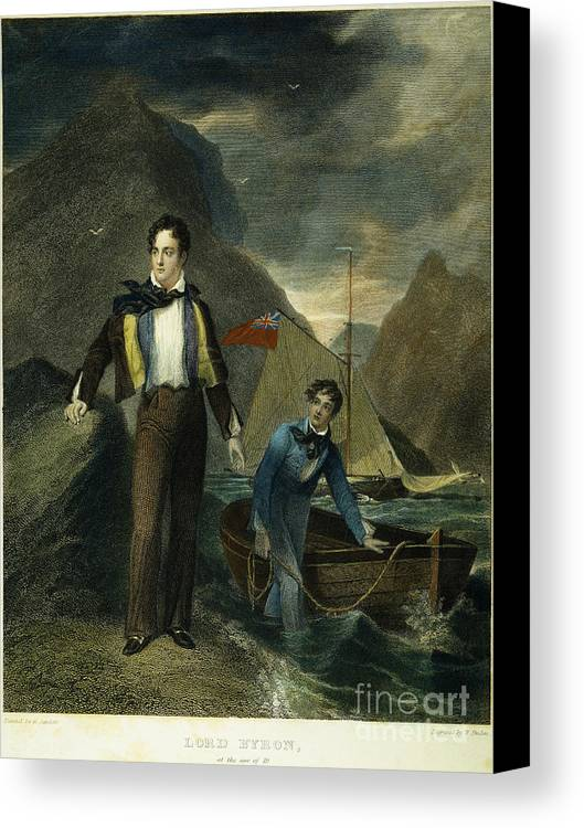 1807 Canvas Print featuring the photograph Lord Byron by Granger
