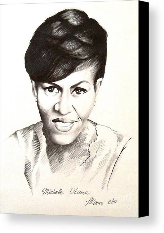 Portrait Canvas Print featuring the painting Michelle Obama by A Karron