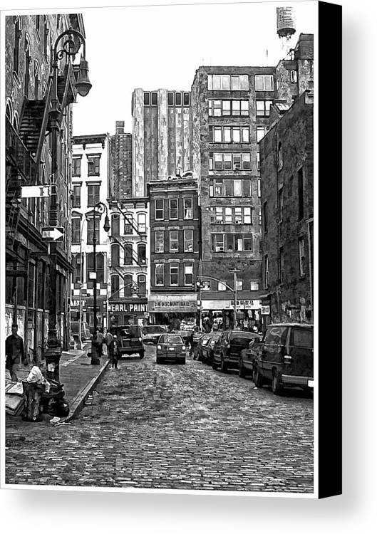 B&w Canvas Print featuring the photograph New York City Street Scene by Scott Massey
