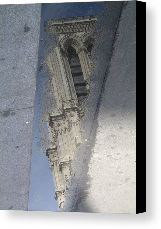 Notre Dame Canvas Print featuring the photograph Notre Dame In Reflection by Angela Rose