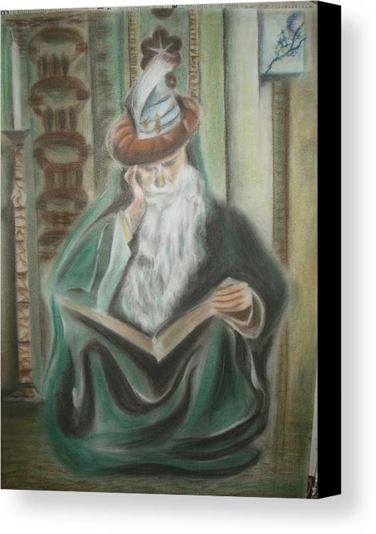 Omar Khayyam Canvas Print featuring the pastel Omar Khayyam by Prasenjit Dhar