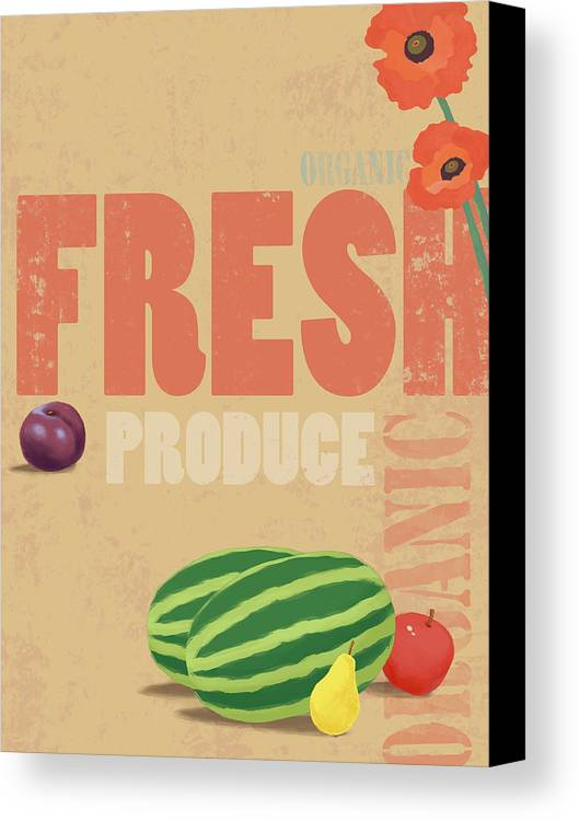 Vertical Canvas Print featuring the digital art Organic Fresh Produce Poster Illustration by Don Bishop