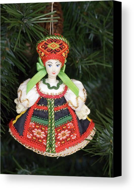 Christmas Tree Ornament Canvas Print featuring the photograph Russian Folk Ornament by Sally Weigand