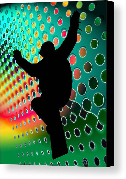 Snowboard Canvas Print featuring the painting Snowboard In Cosmic Snowstorm by Elaine Plesser