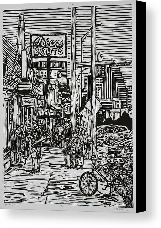 Austin Canvas Print featuring the drawing South Congress by William Cauthern
