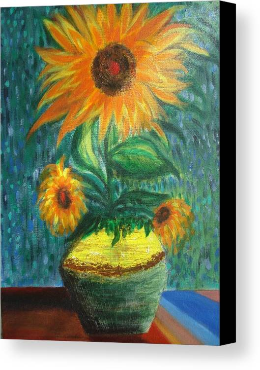 Vase Canvas Print featuring the painting Sunflower In A Vase by Prasenjit Dhar