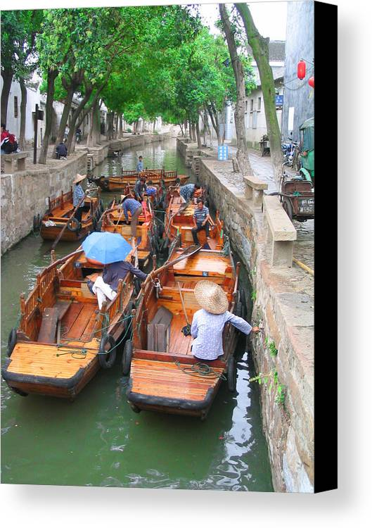 China Canvas Print featuring the photograph Suzhou Canal Traffic Jam by Robert M Brown II