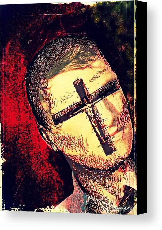 Restlessness Of The Soul Canvas Print featuring the digital art The Face Is Sowing Fertile Shadow Of The Cross by Paulo Zerbato