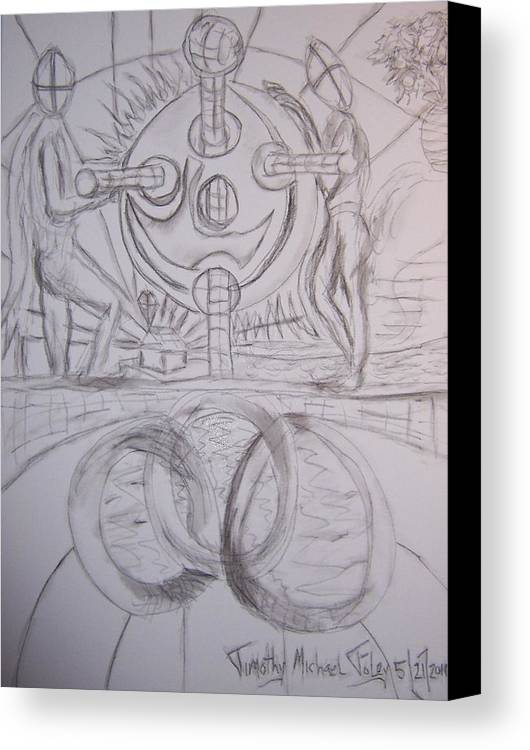 Surrealism Canvas Print featuring the drawing Three Rings And Control by Timothy Foley