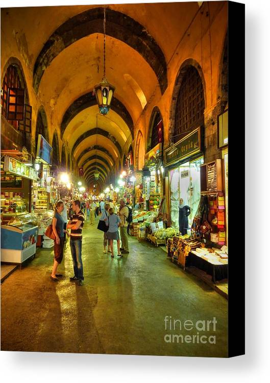 Grand Canvas Print featuring the photograph Tourists At The Grand Bazaar by Michael Garyet