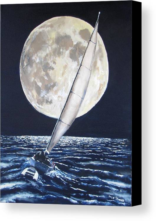Sailboat Ocean Canvas Print featuring the painting Under Full Sail..under Full Moon by Jack Skinner