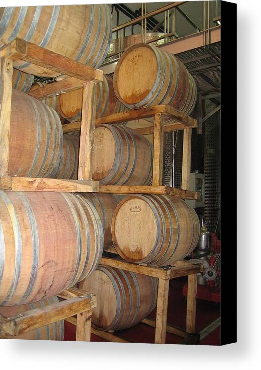 Wine Canvas Print featuring the photograph Wine Casks by Angela Rose