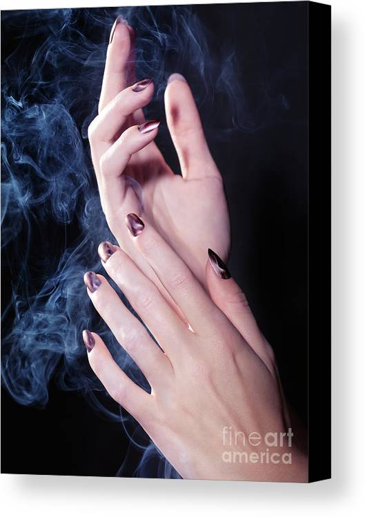 Hands Canvas Print featuring the photograph Woman Hands In A Cloud Of Smoke by Oleksiy Maksymenko