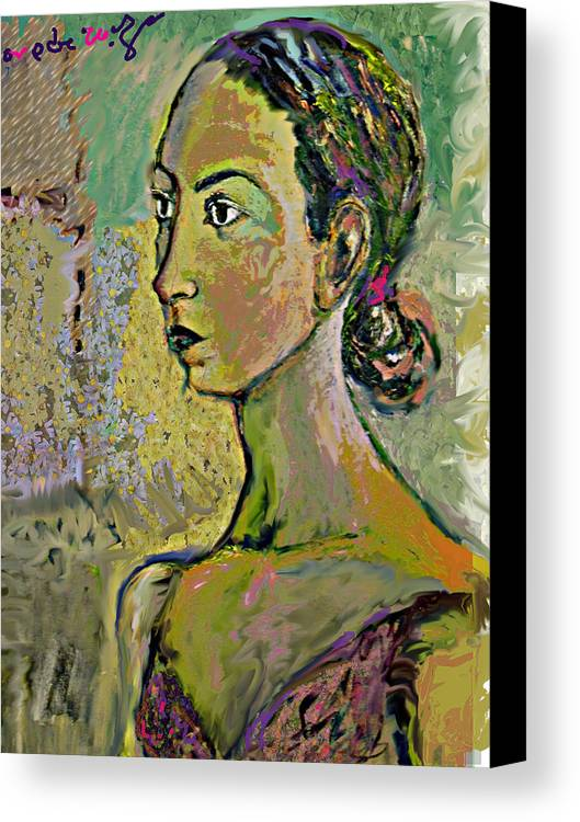Portrait Canvas Print featuring the painting A Waiting by Noredin Morgan