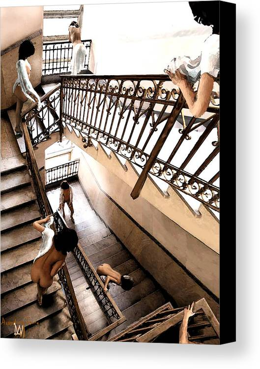 Multible Views Assending Stairs In An Old Building. Canvas Print featuring the digital art Assending Firure by Leo Malboeuf