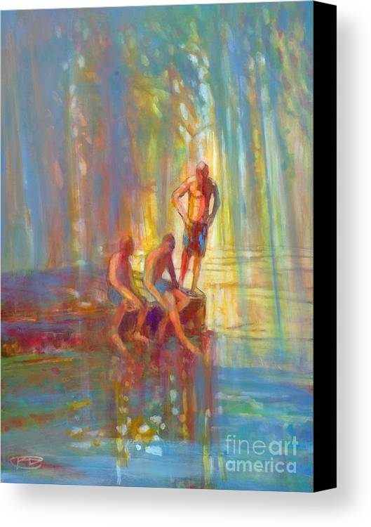 Swimmers Canvas Print featuring the painting Before The Swim by Kip Decker