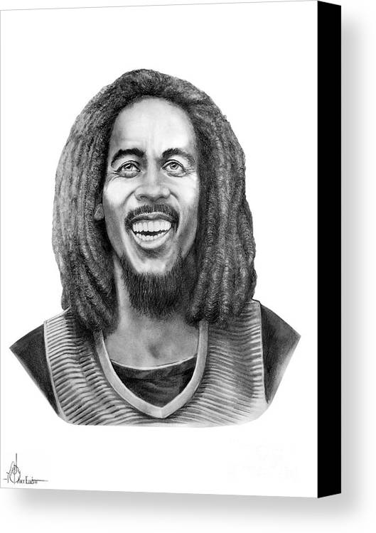 Bob Marley Canvas Print featuring the drawing Bob Marley by Murphy Elliott