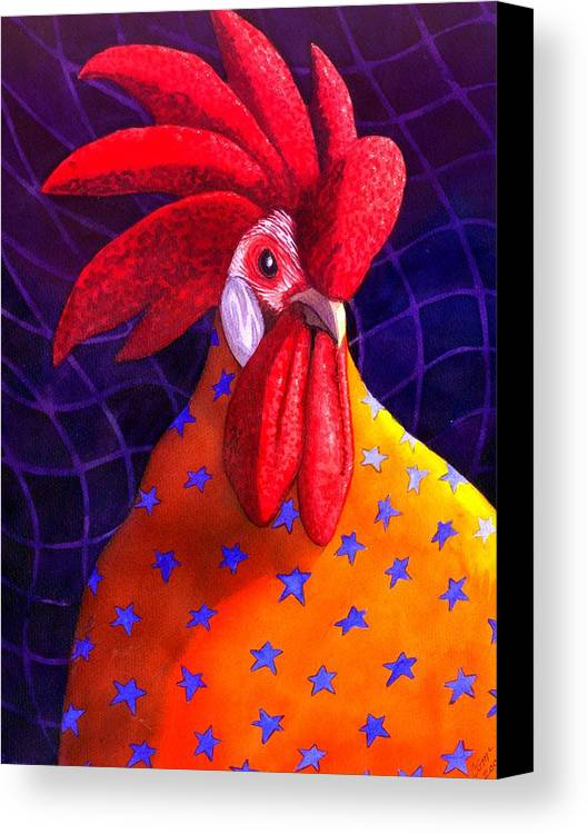 Rooster Canvas Print featuring the painting Cock A Doodle Dude by Catherine G McElroy