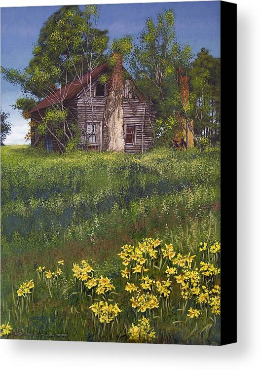 Landscape Canvas Print featuring the painting Fairplay Farmhouse by Peter Muzyka