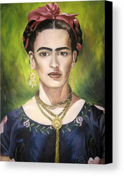 Frida Canvas Print featuring the painting Mi Bella Frida by Jessica De la Torre