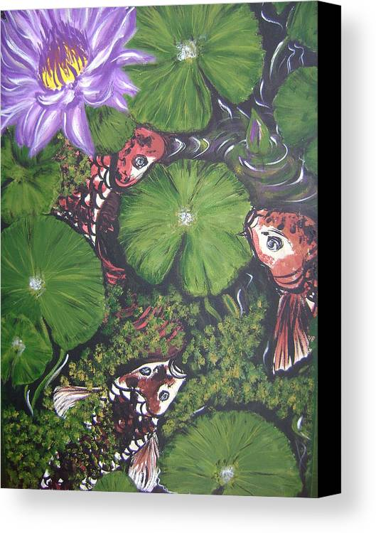 Koi Canvas Print featuring the painting Summer Pond by Laura Johnson