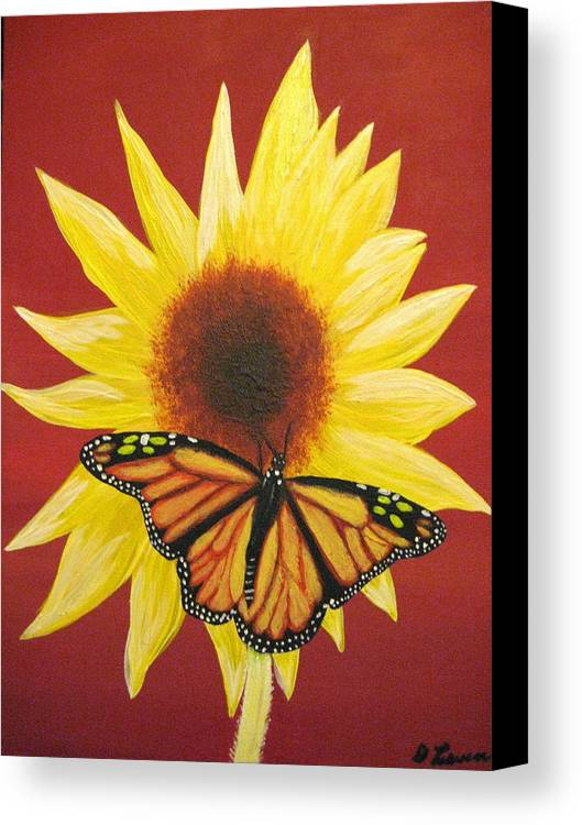 Sunflower Canvas Print featuring the painting Sunflower Monarch by Debbie Levene