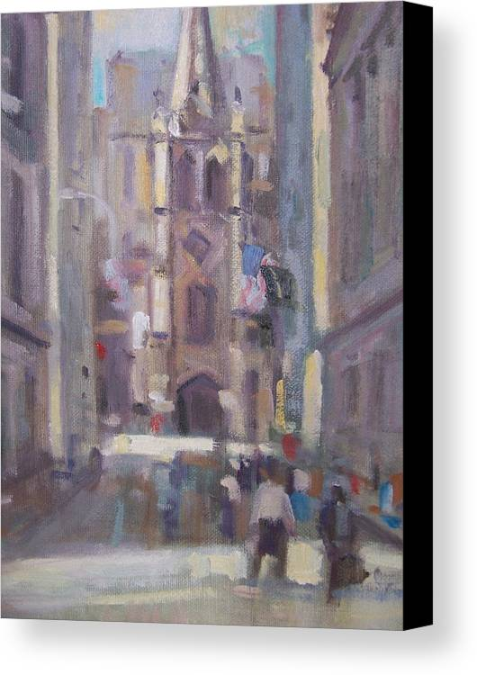 Wall St Looking At Trinity Church. Canvas Print featuring the painting Wall St by Bart DeCeglie