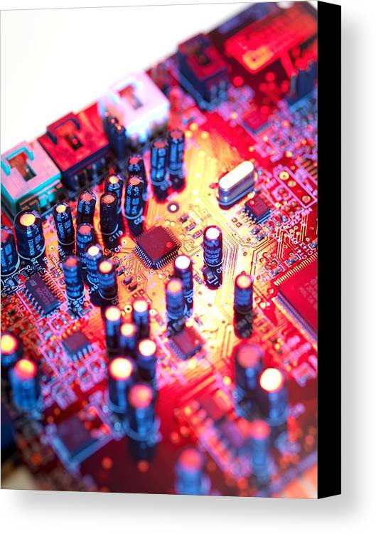Circuit Board Canvas Print featuring the photograph Circuit Board by Tek Image