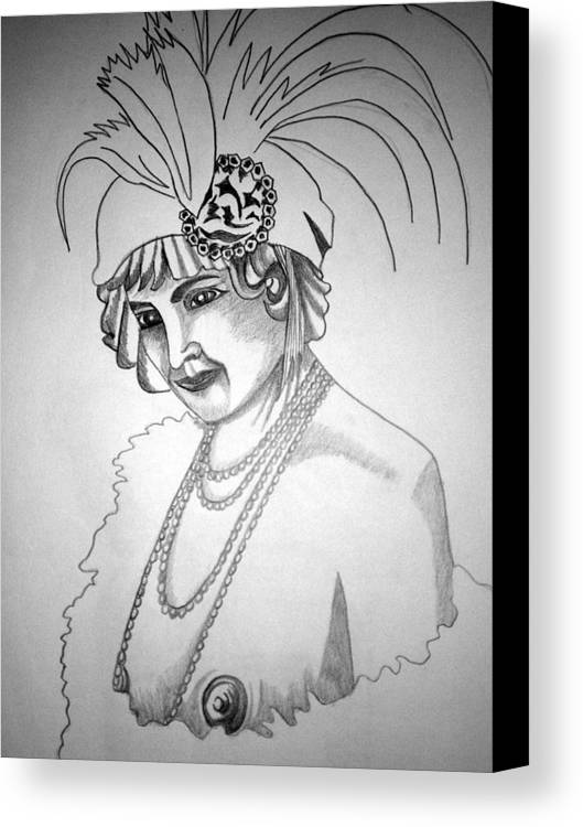 Deco Canvas Print featuring the drawing 1920s Women Series 9 by Tammera Malicki-Wong