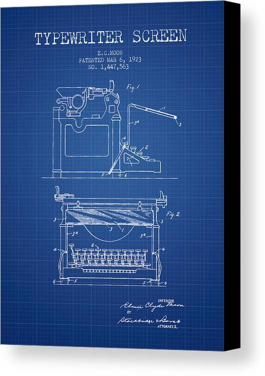 1923 typewriter screen patent blueprint canvas print canvas art typewriter canvas print featuring the digital art 1923 typewriter screen patent blueprint by aged pixel malvernweather