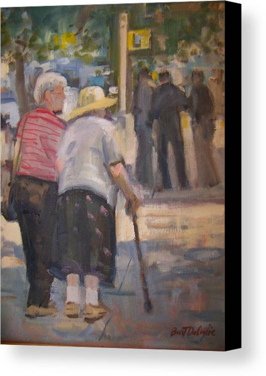 2 Ladies Walking In Ny. Canvas Print featuring the painting 2 Ladies In Ny by Bart DeCeglie