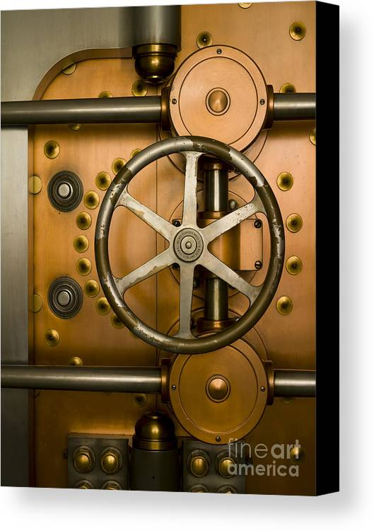 Architectural Canvas Print featuring the photograph Tumbler On A Vault Door by Adam Crowley