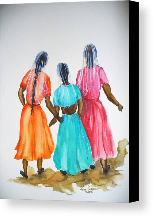 Three Ladies East Indian Canvas Print featuring the painting 3bff by Karin Dawn Kelshall- Best