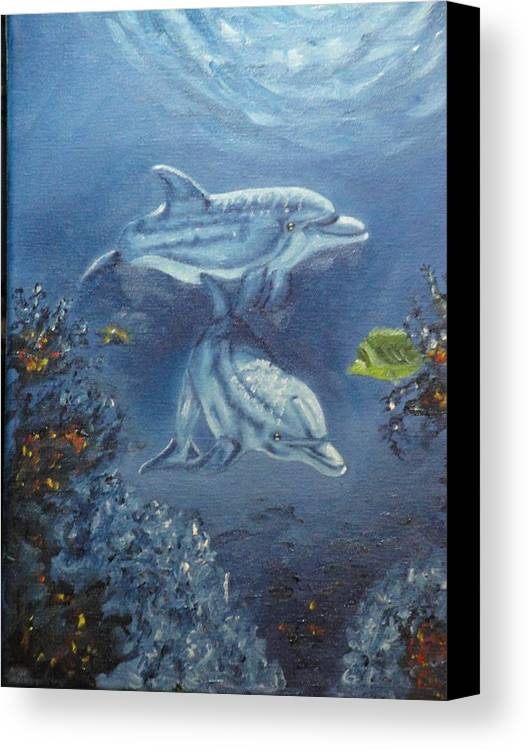 Dolphins Canvas Print featuring the painting No Place Like Home by Charles Vaughn