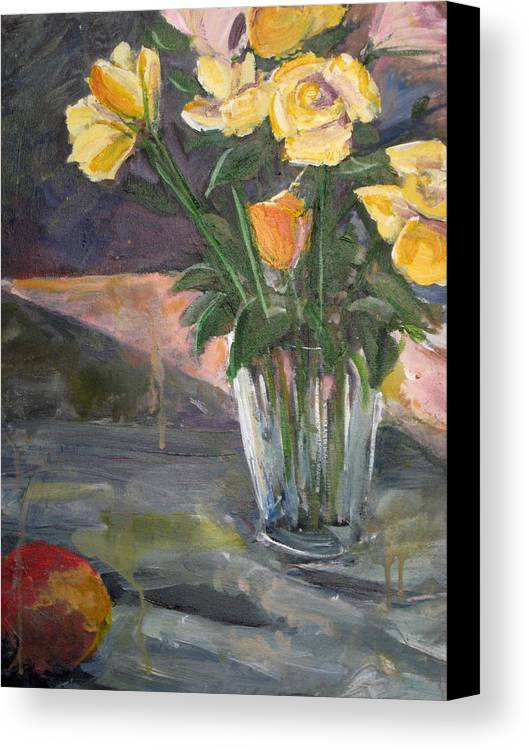 Yellow Rose Canvas Print featuring the painting 45 Minutes by Alicia Kroll