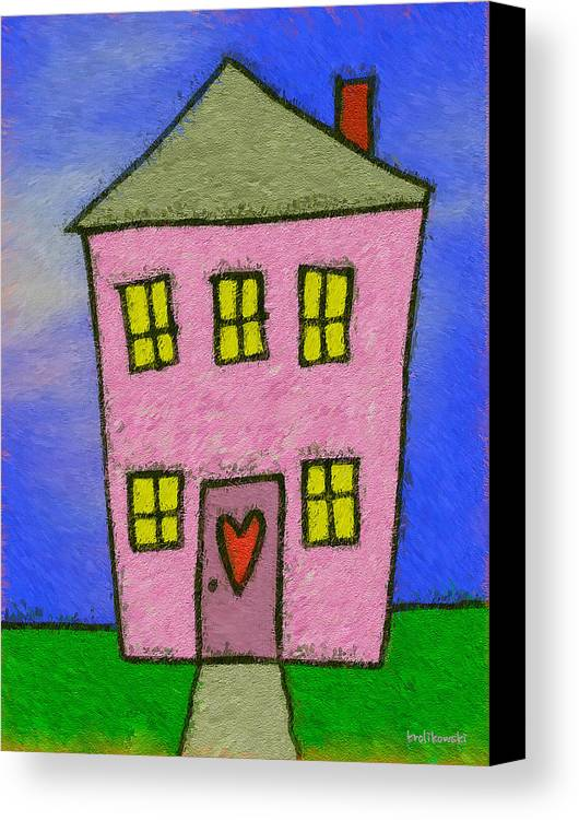 House Canvas Print featuring the painting A Happy Home by Kenneth Krolikowski