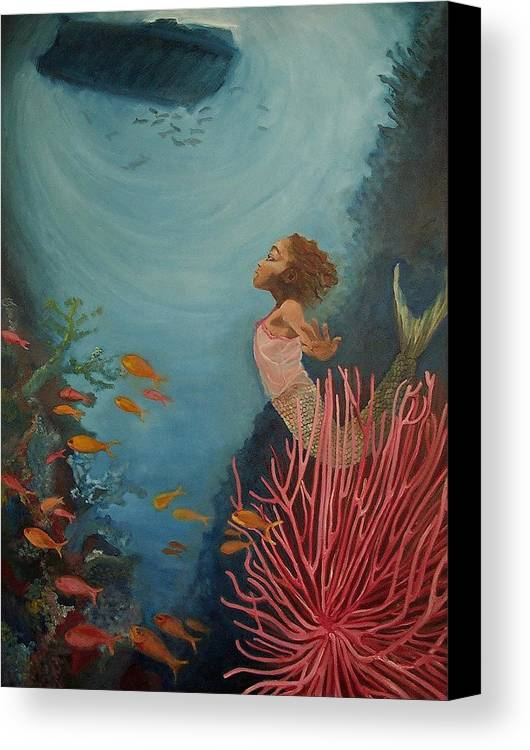 Mermaids Canvas Print featuring the painting A Mermaid's Journey by Amira Najah Whitfield