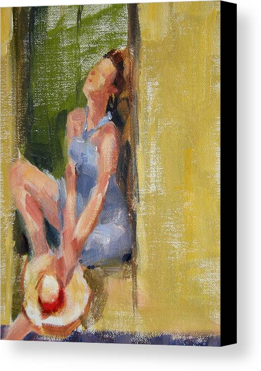 Figurative Canvas Print featuring the painting A Moment In The Sun by Merle Keller